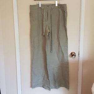 Talbots rough linen high waist wide leg trousers
